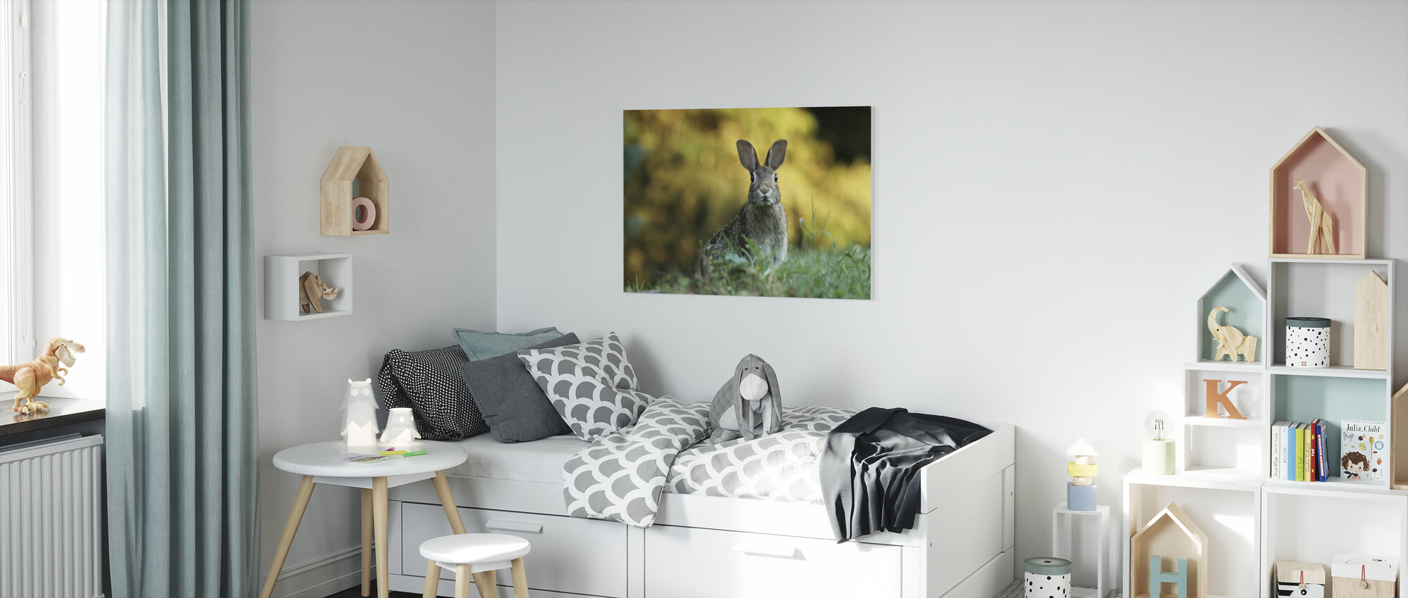 Fluffy Rabbit - Canvas print - Kids Room