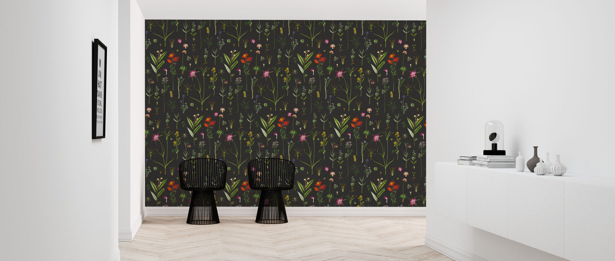 Botanical Morning Black - Wallpaper - Hallway