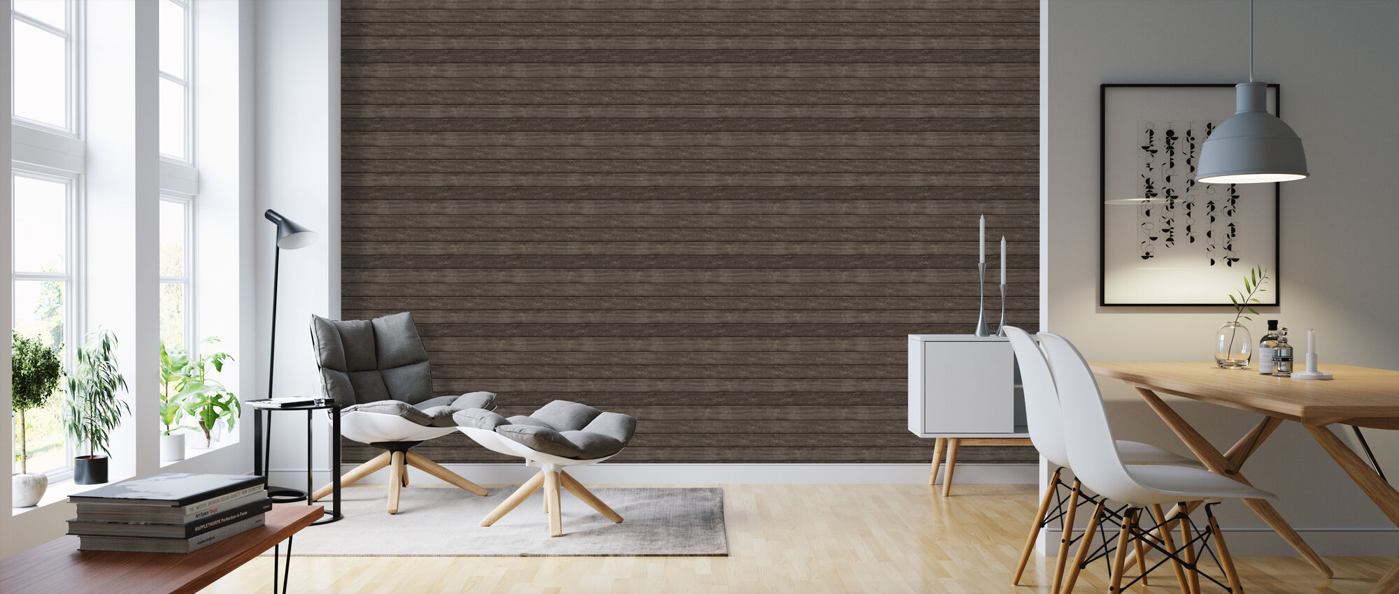 Brown Colored Plank - Wallpaper - Living Room