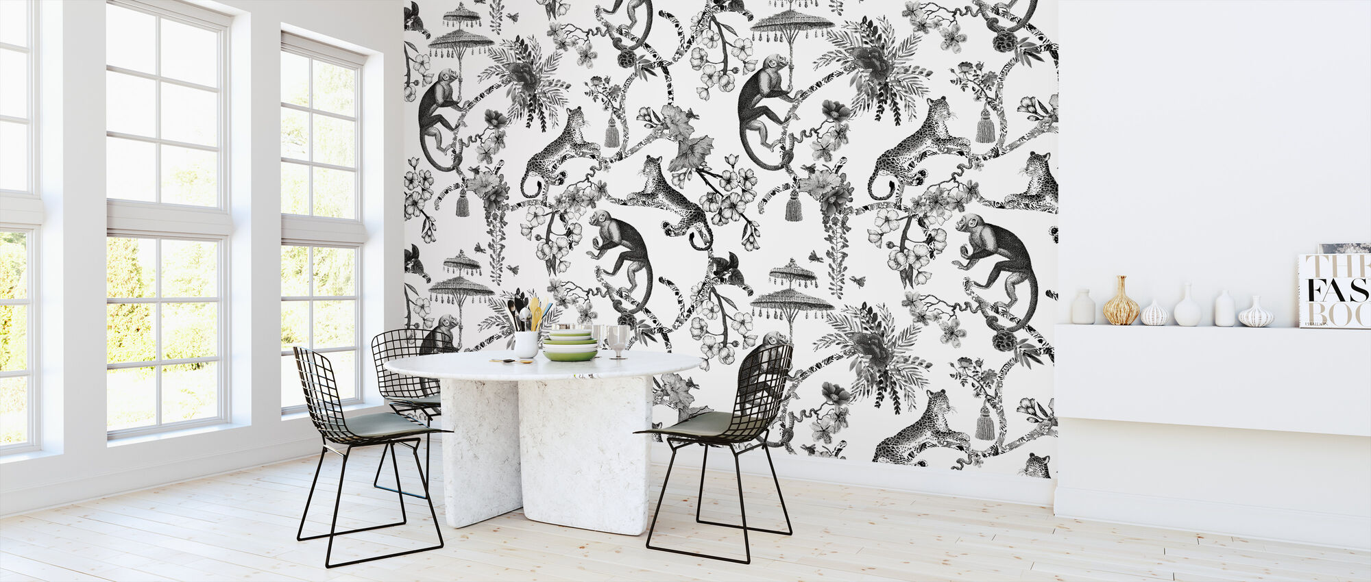 Whimsy Garden Black - Wallpaper - Kitchen
