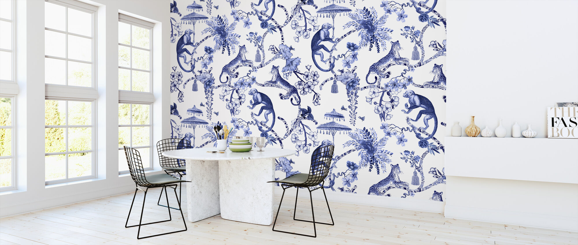 Chinoiserie Whimsy Garden Blue - Wallpaper - Kitchen