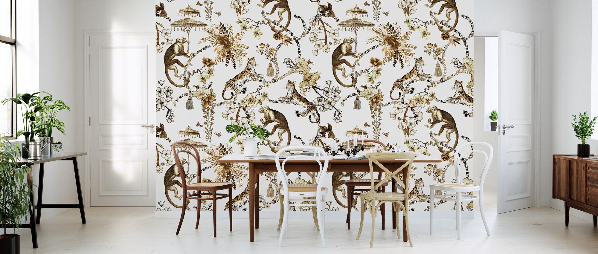 Whimsy Garden Brown Chinoiserie - Wallpaper - Kitchen