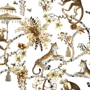 Chinoiserie Whimsy Garden Black Unique High Quality Wallpaper