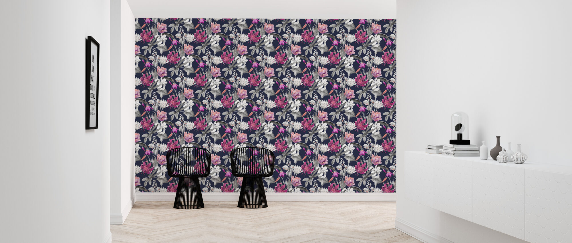 Flowers of Spring Black - Wallpaper - Hallway