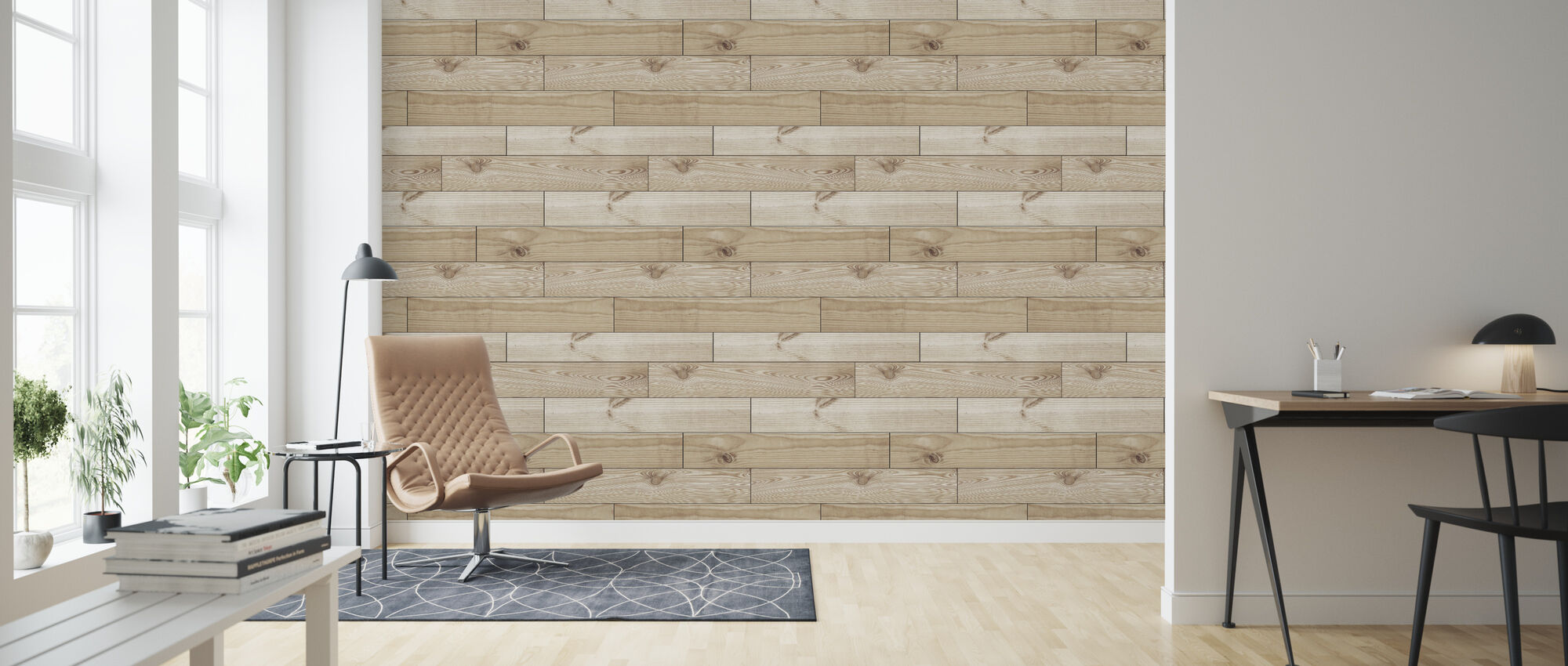 Joined Light Wood - Wallpaper - Living Room