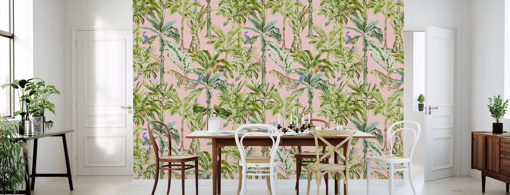 Trooppinen viidakon läpikäynti - vaaleanpunainen - Tapetti - Keittiö