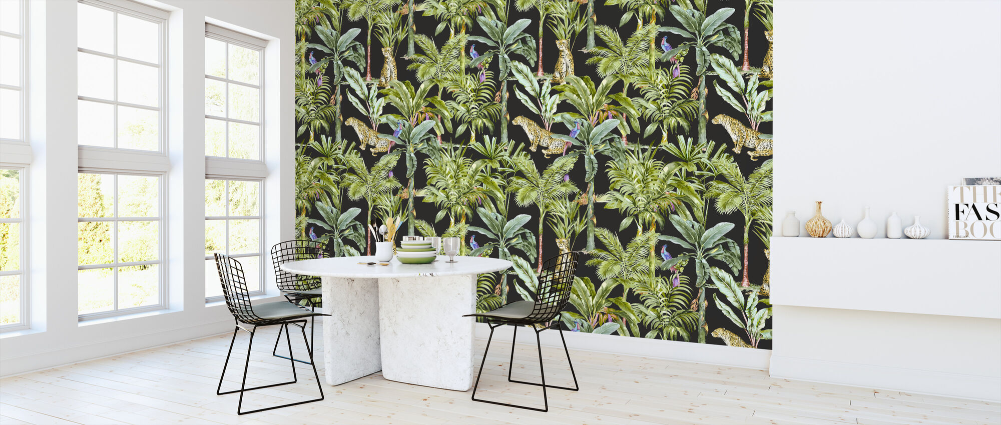 Tropical Jungle Walkthrough - Black - Wallpaper - Kitchen