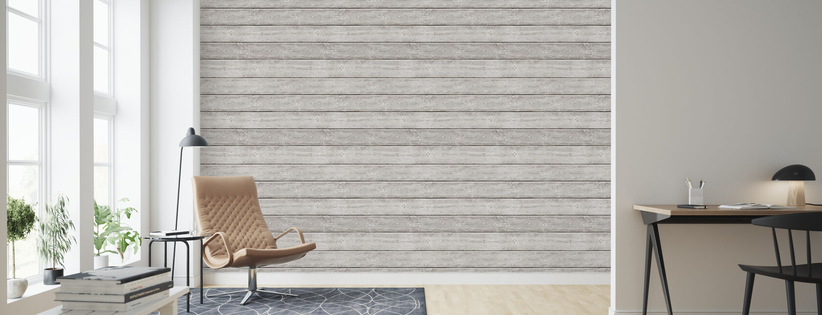 White Washed Plank - Wallpaper - Living Room