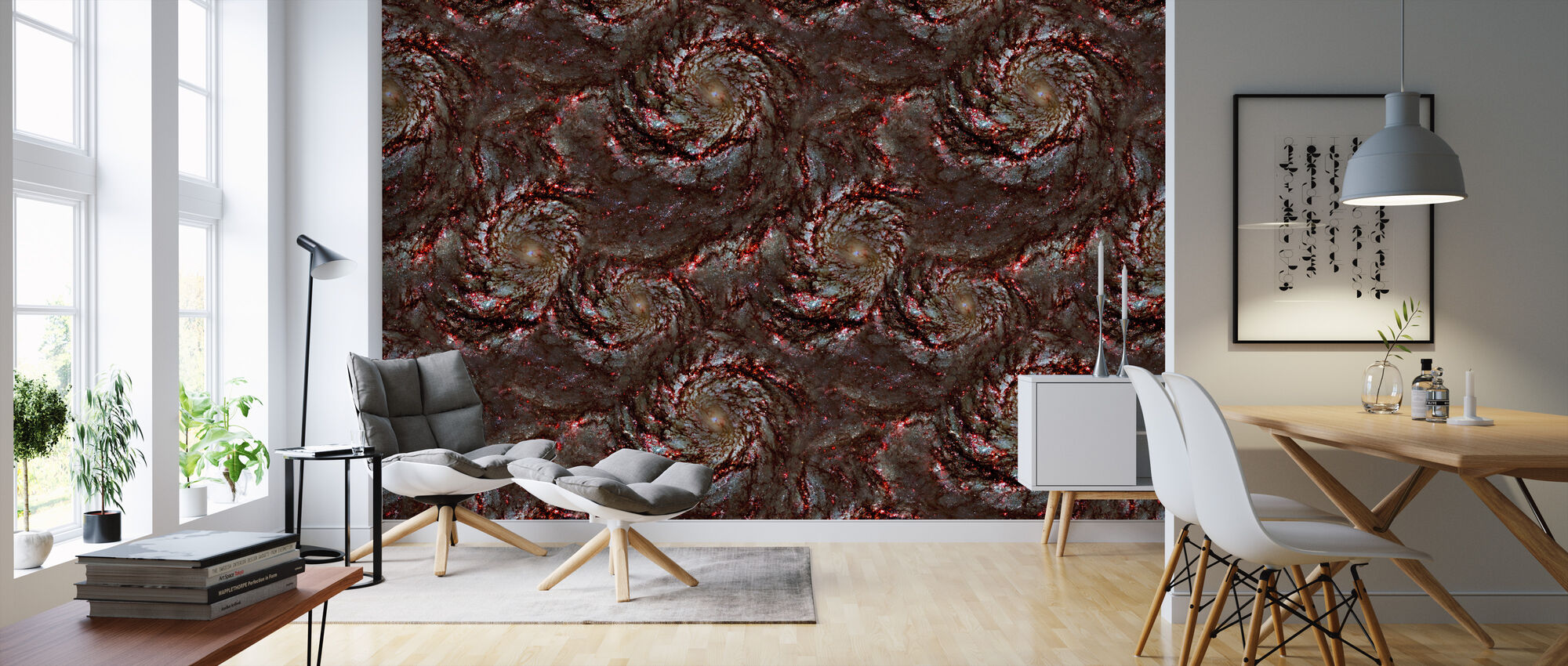 Red Swirl - Wallpaper - Living Room