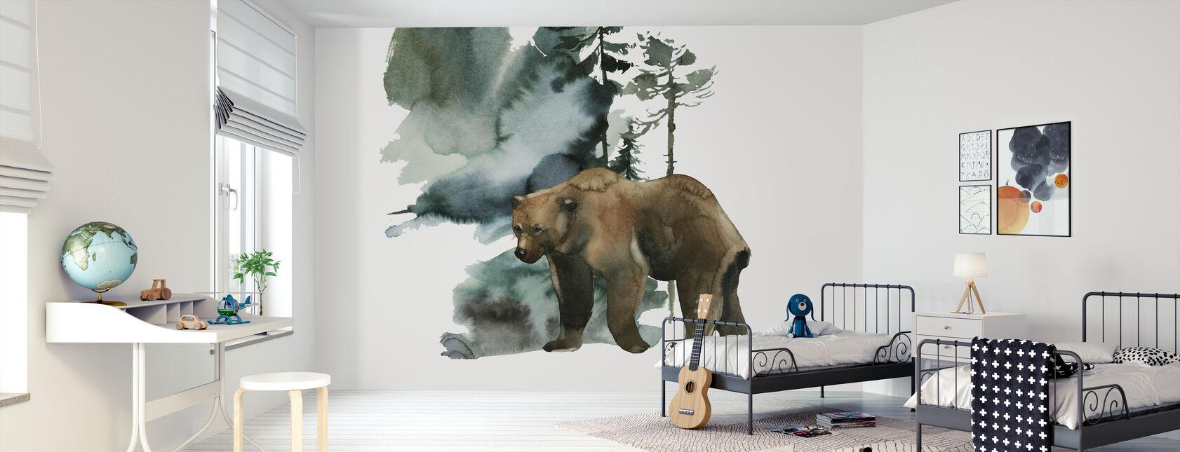 Bosque de Osos Acuarela - Papel pintado - Cuarto de niños