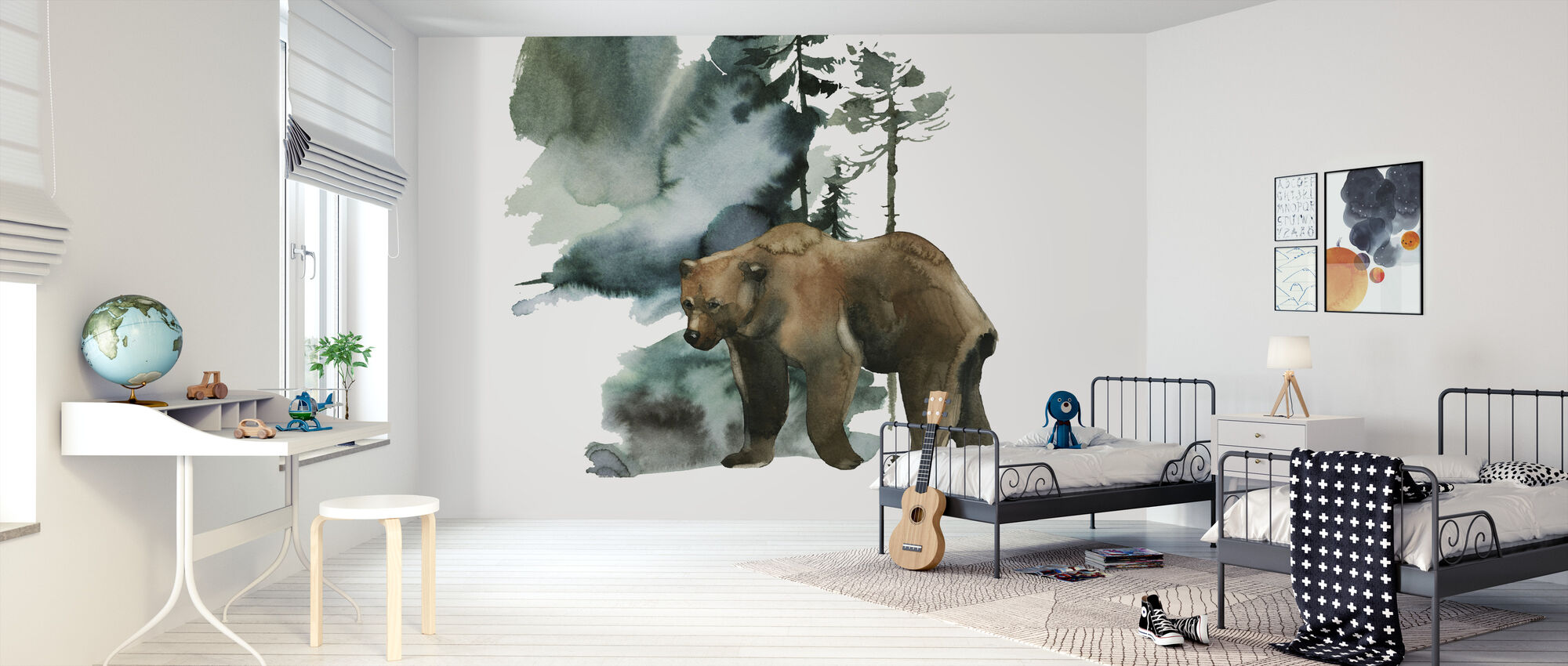 Watercolor Bear Forest - Wallpaper - Kids Room