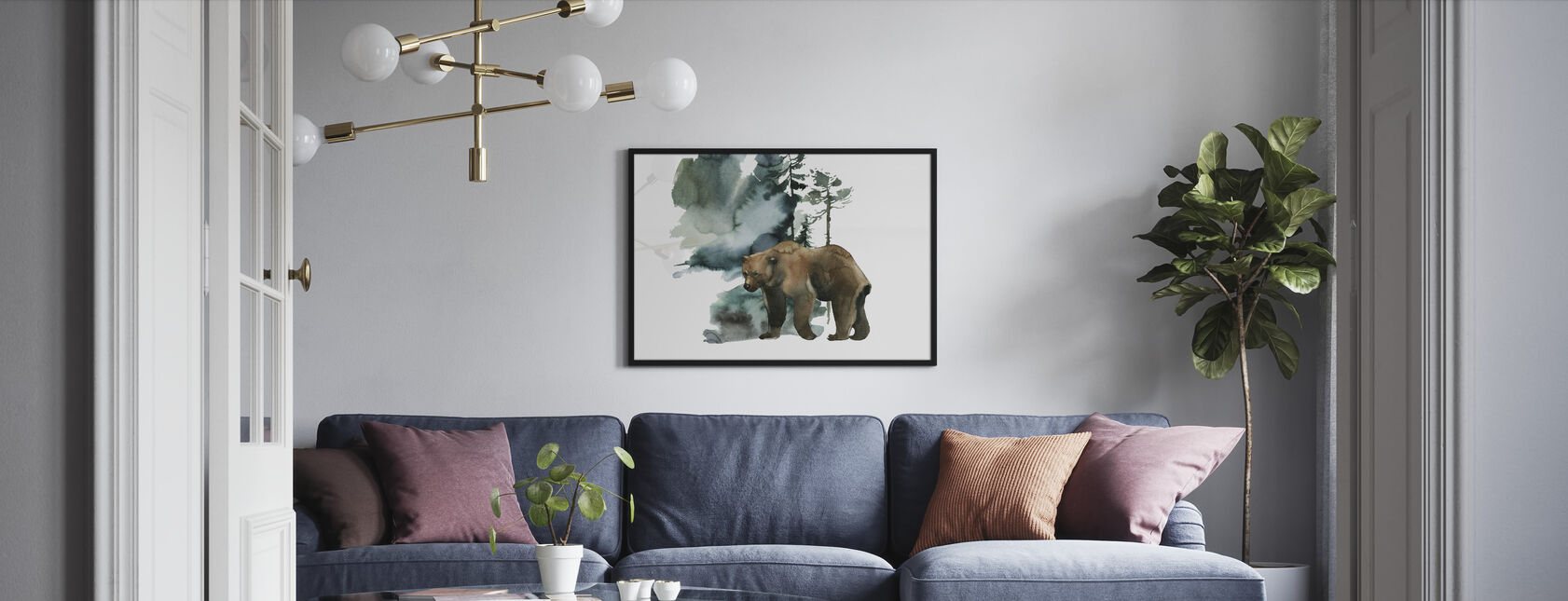 Akvarelli karhunmetsä - Kehystetty kuva - Olohuone