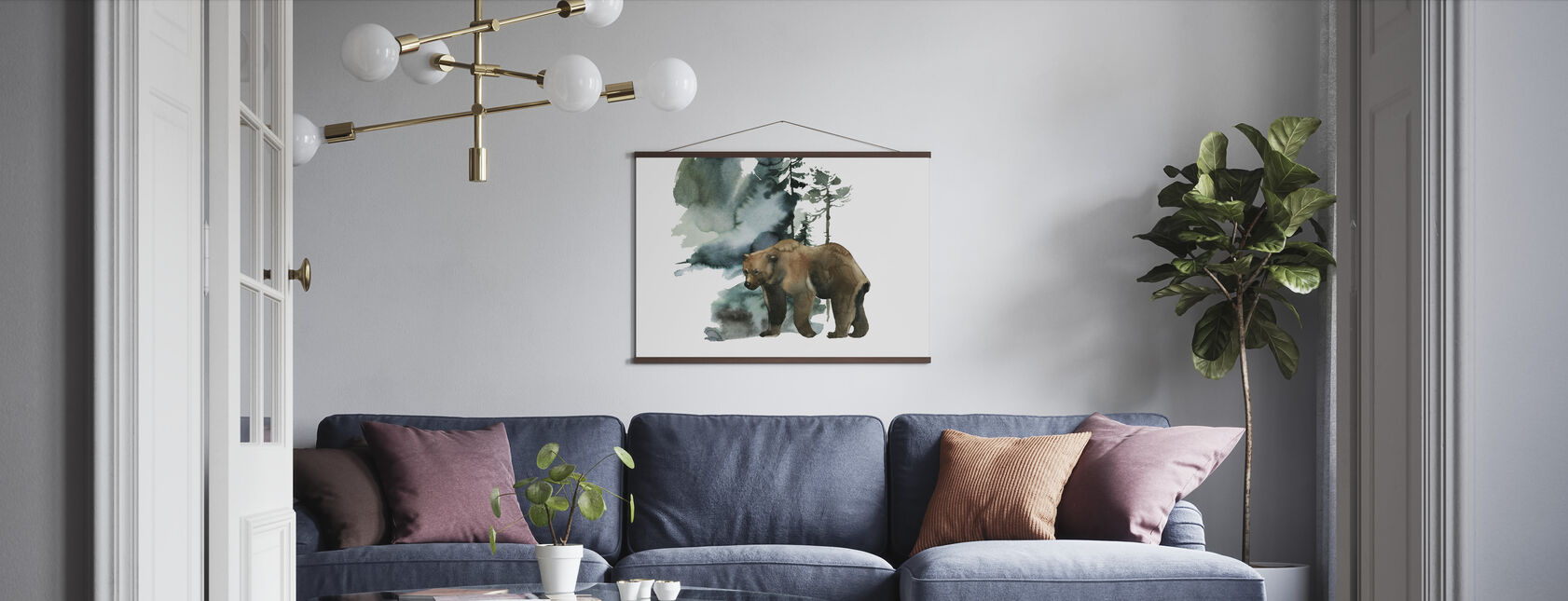 Watercolor Bear Forest - Poster - Living Room