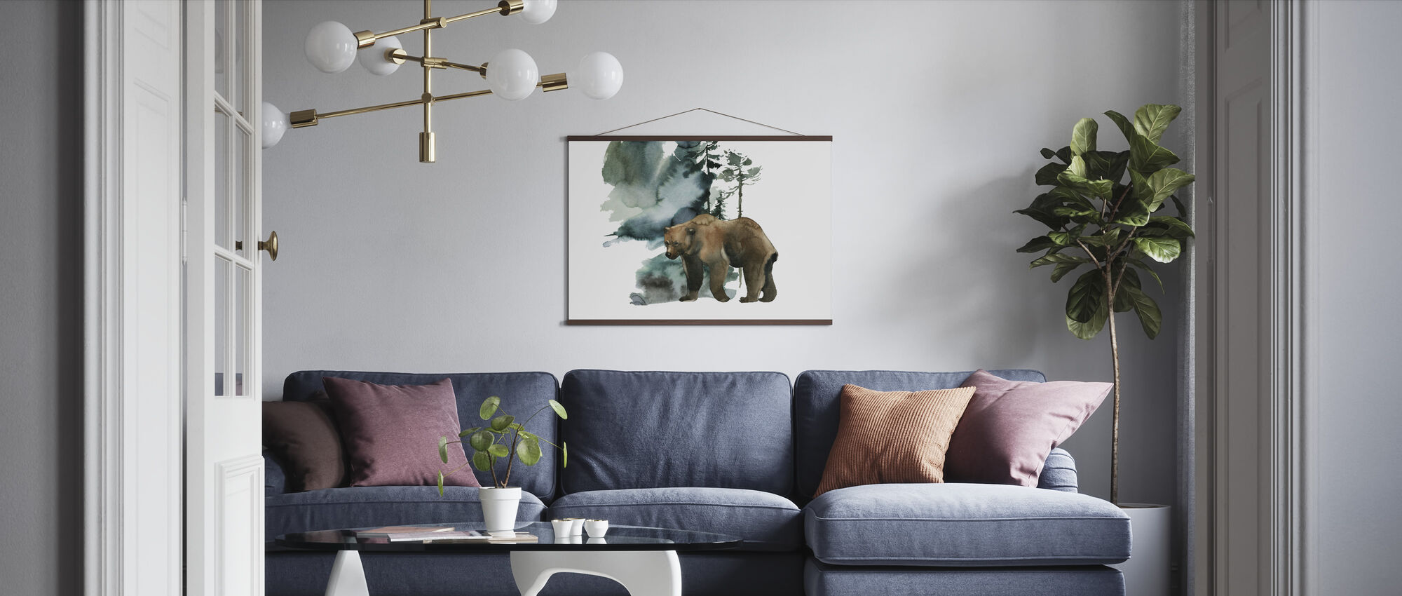 Akvarelli karhunmetsä - Juliste - Olohuone