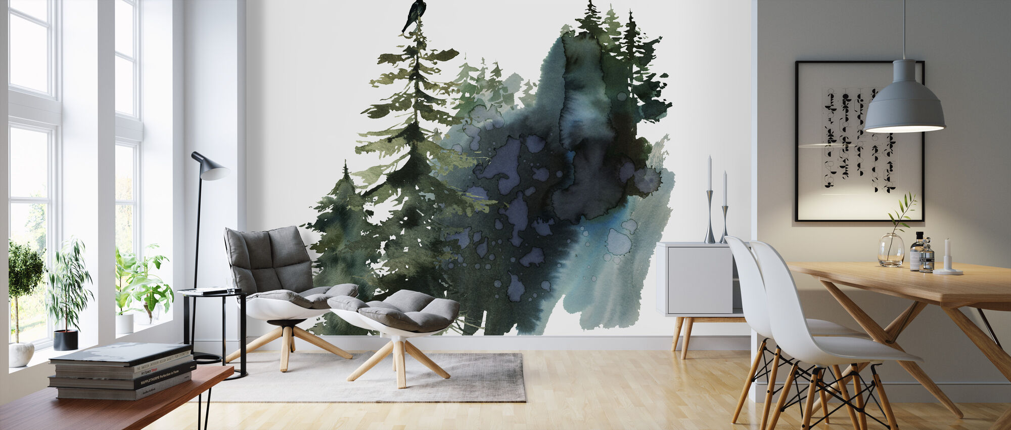 Watercolor Crow Forest - Wallpaper - Living Room