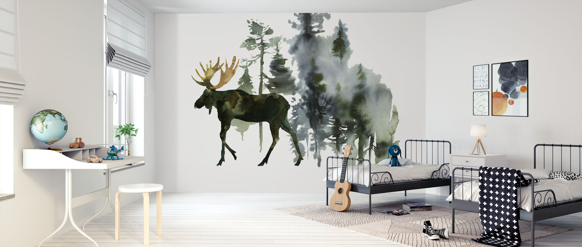 Watercolor Elk in Forest - Wallpaper - Kids Room
