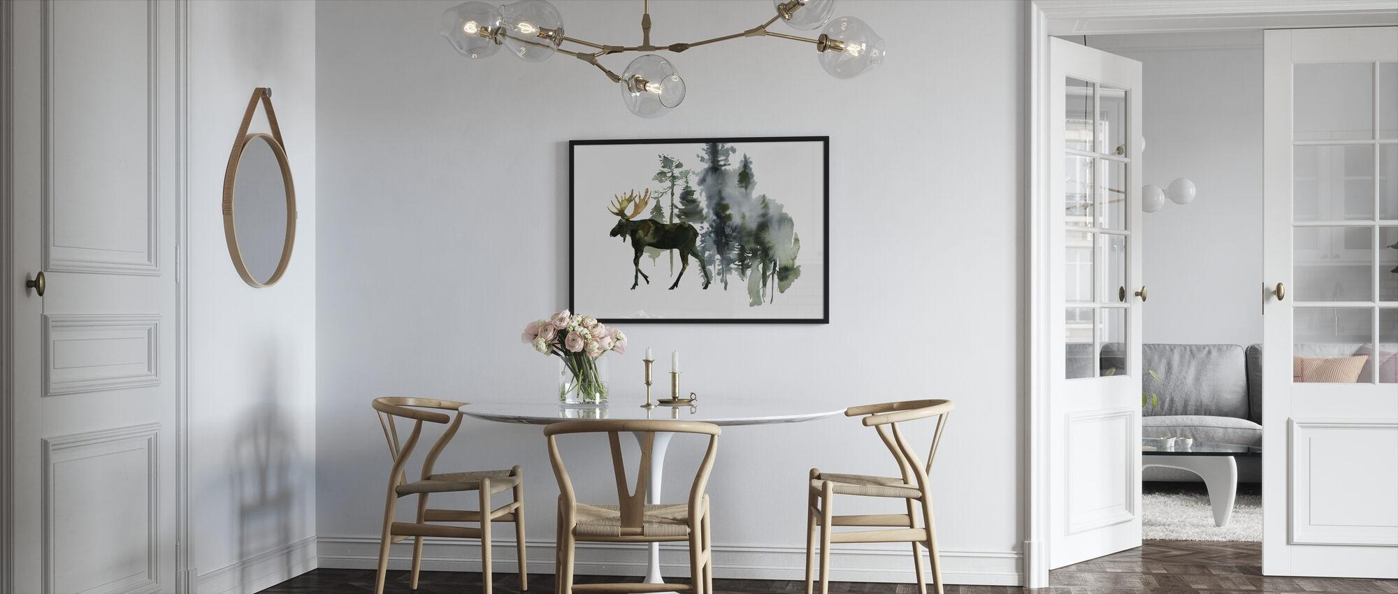 Akvarell älg i skogen - Inramad tavla - Kök