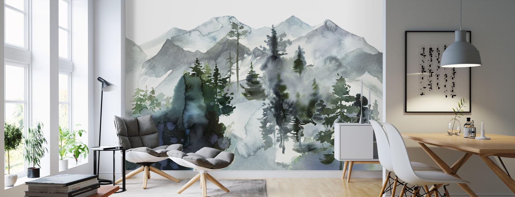 Akvarell Landskap - Tapet - Vardagsrum