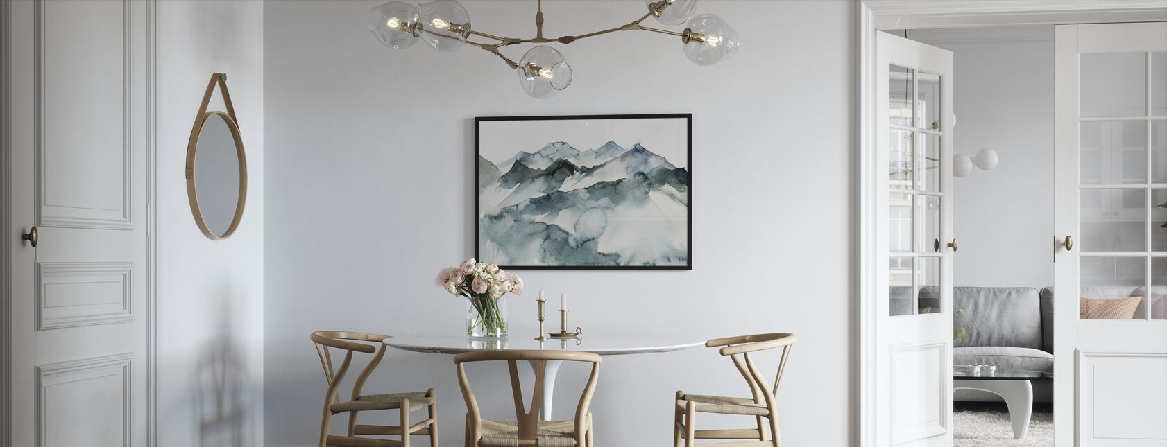 Watercolor Mountains - Framed print - Kitchen
