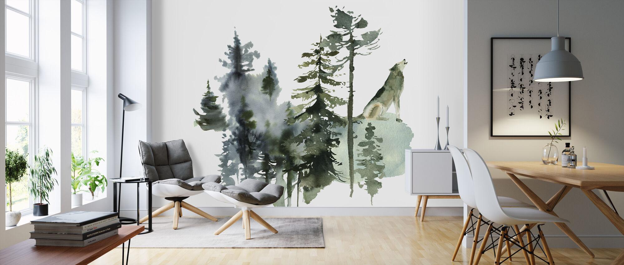 Akvarell Wolf Skog - Tapet - Vardagsrum