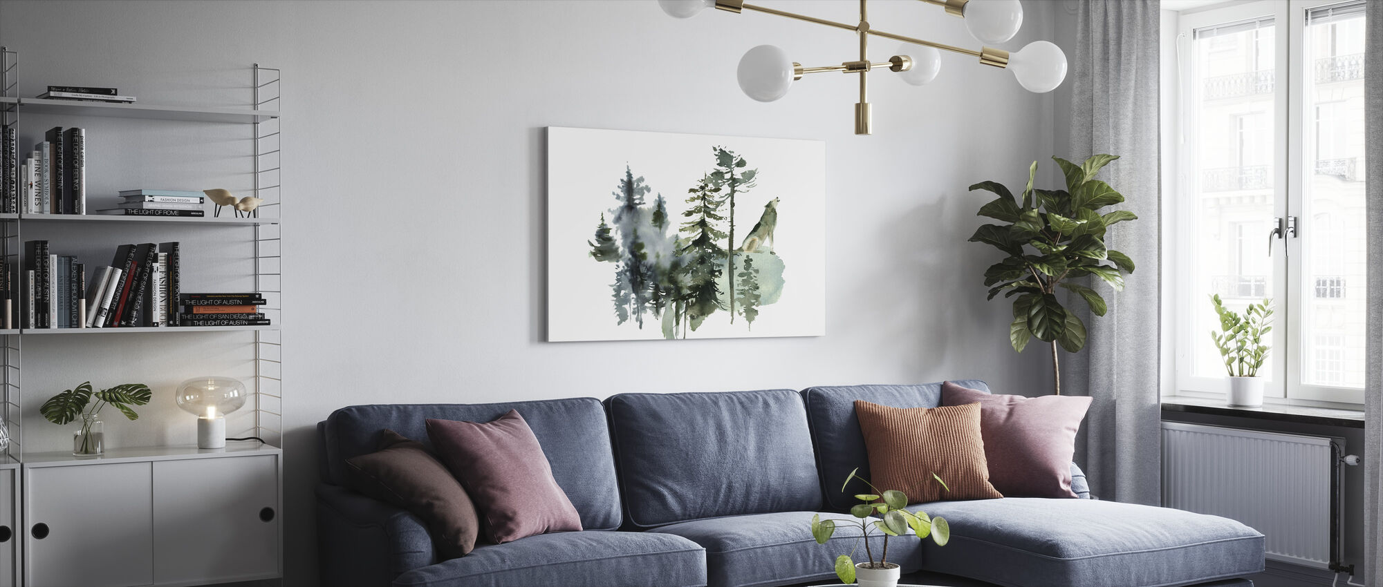 Watercolor Wolf Forest - Canvas print - Living Room