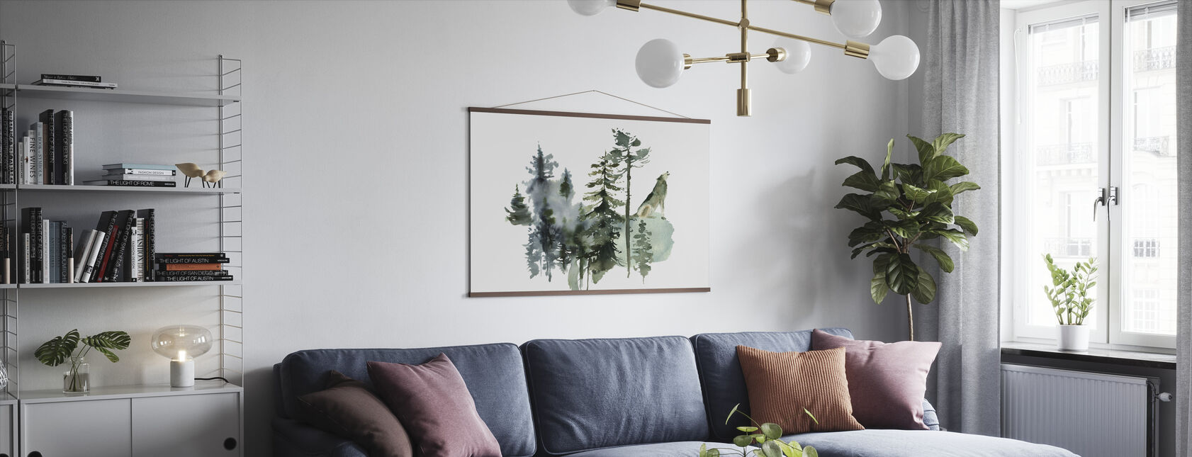 Watercolor Wolf Forest - Poster - Living Room