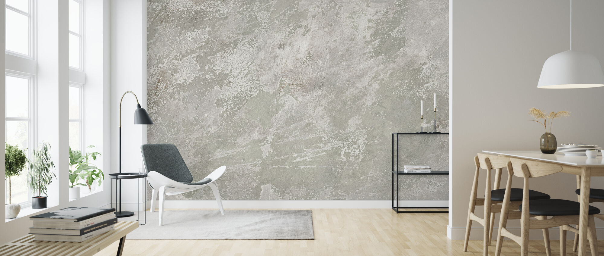 White Washed Stone Wall - Wallpaper - Living Room