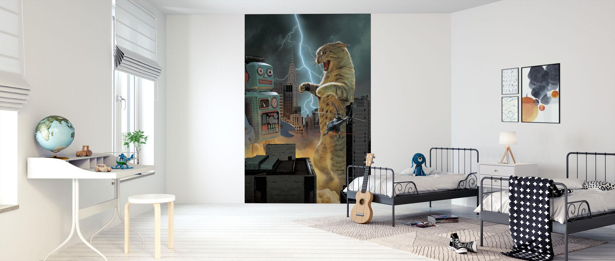 Catzilla vs Robot - Wallpaper - Kids Room