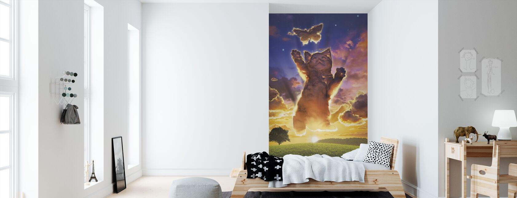 Cloud Kitten Sunset - Wallpaper - Kids Room