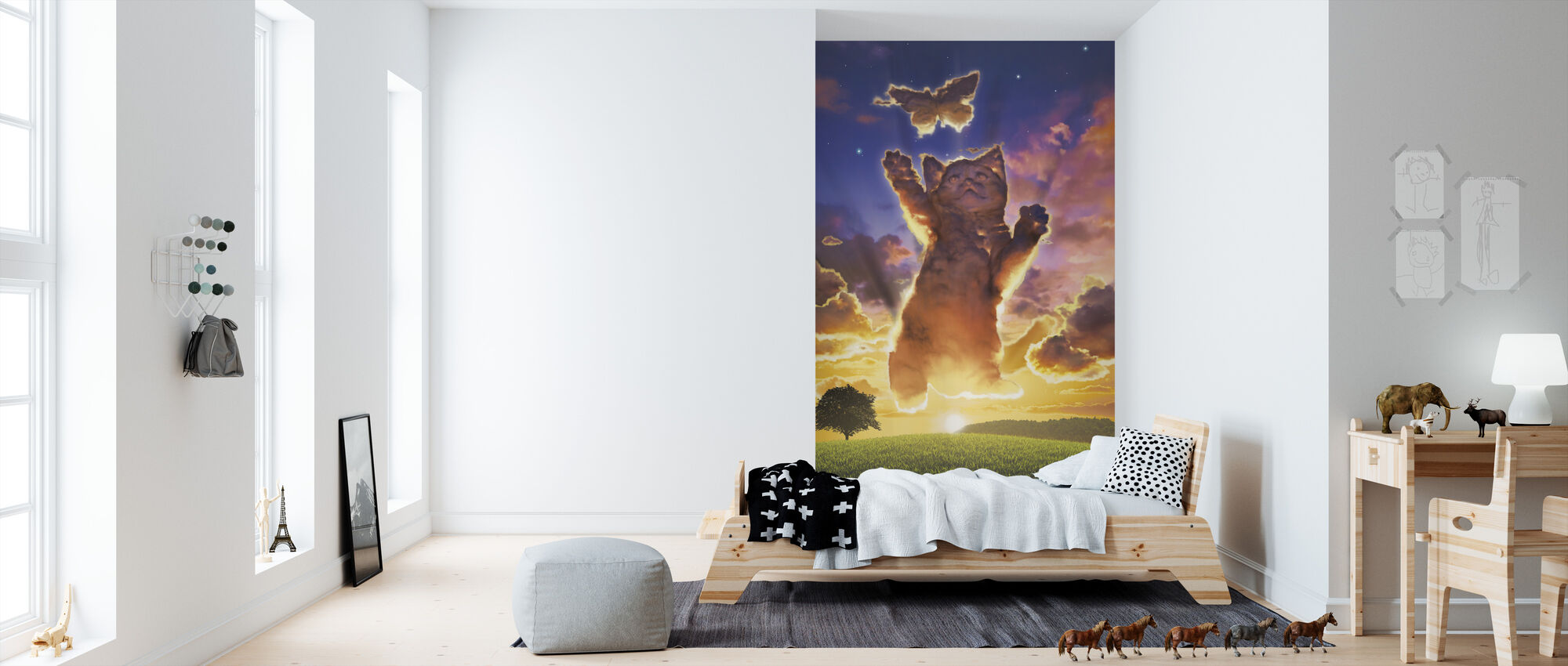 Cloud Kitten Sunset - Wallpaper - Kids Room