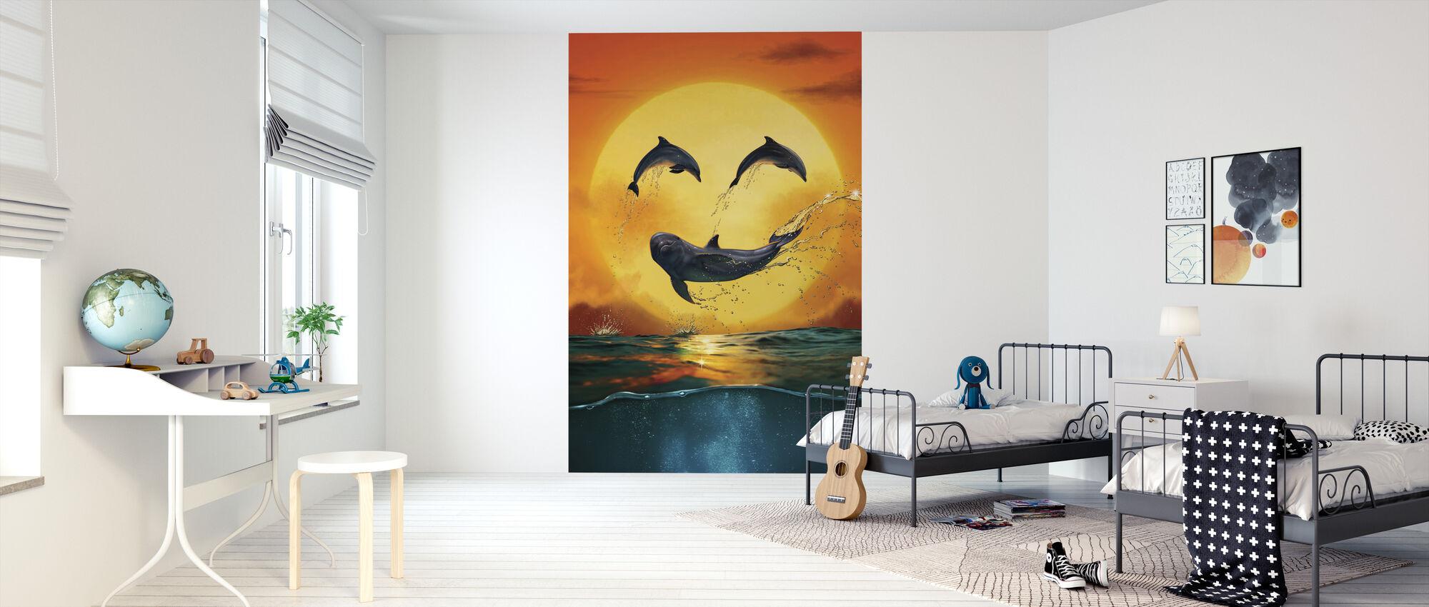 Dolphin Emoji Smily - Wallpaper - Kids Room