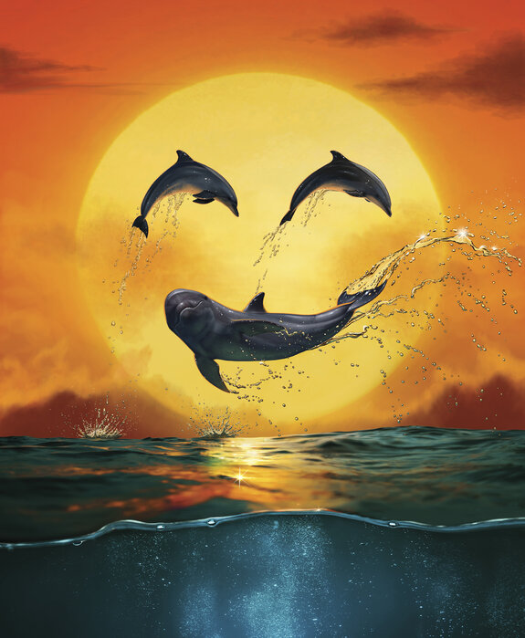 Dolphin Emoji Smily Trendy Wall Mural Photowall