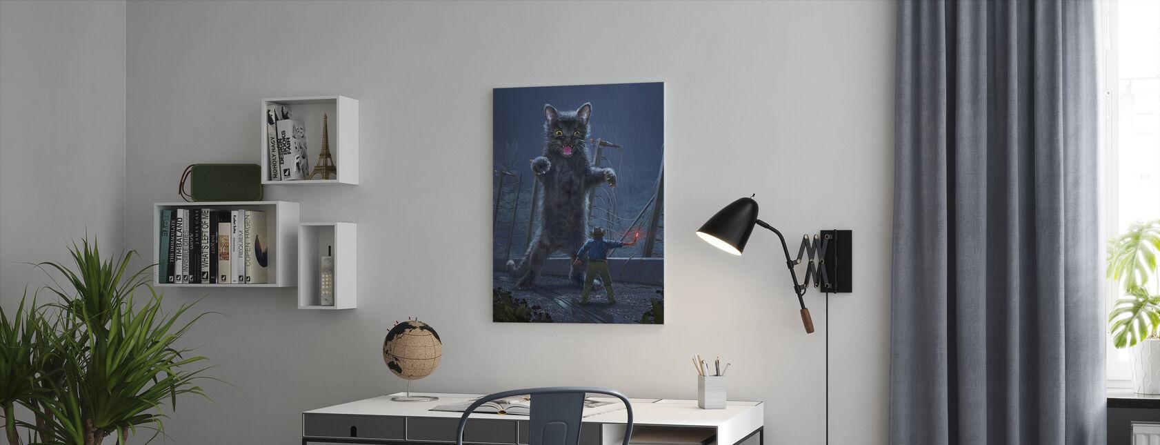 Jurassic Kitty - Billede på lærred - Kontor