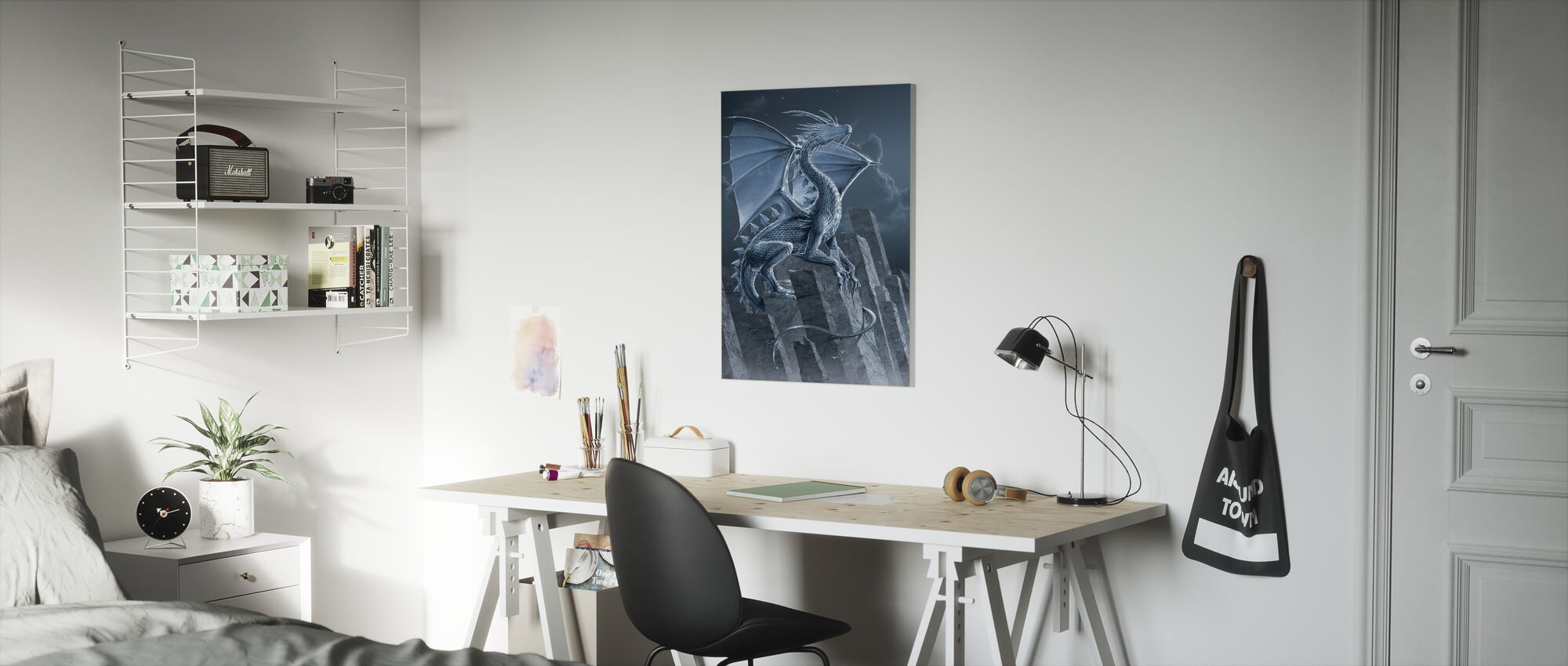 Silver Dragon - Canvas print - Kids Room