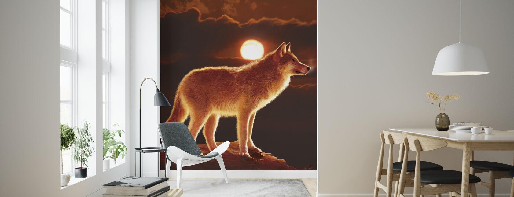 Zonsondergang Wolf - Behang - Woonkamer
