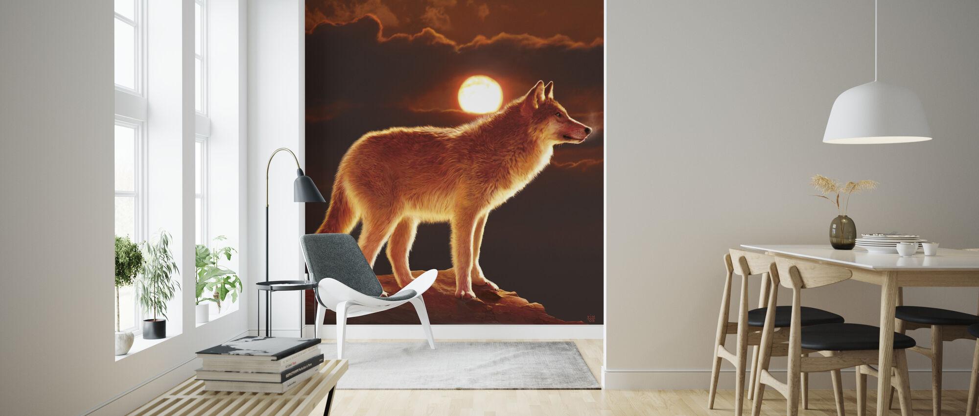 Solnedgang ulv - Tapet - Stue