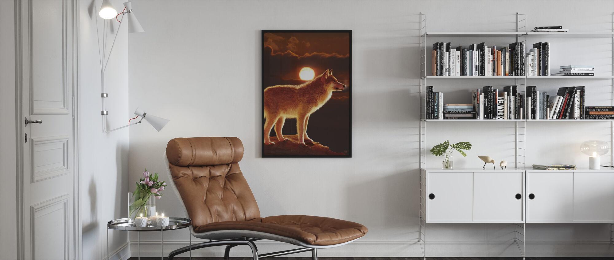 Sunset Wolf - Framed print - Living Room
