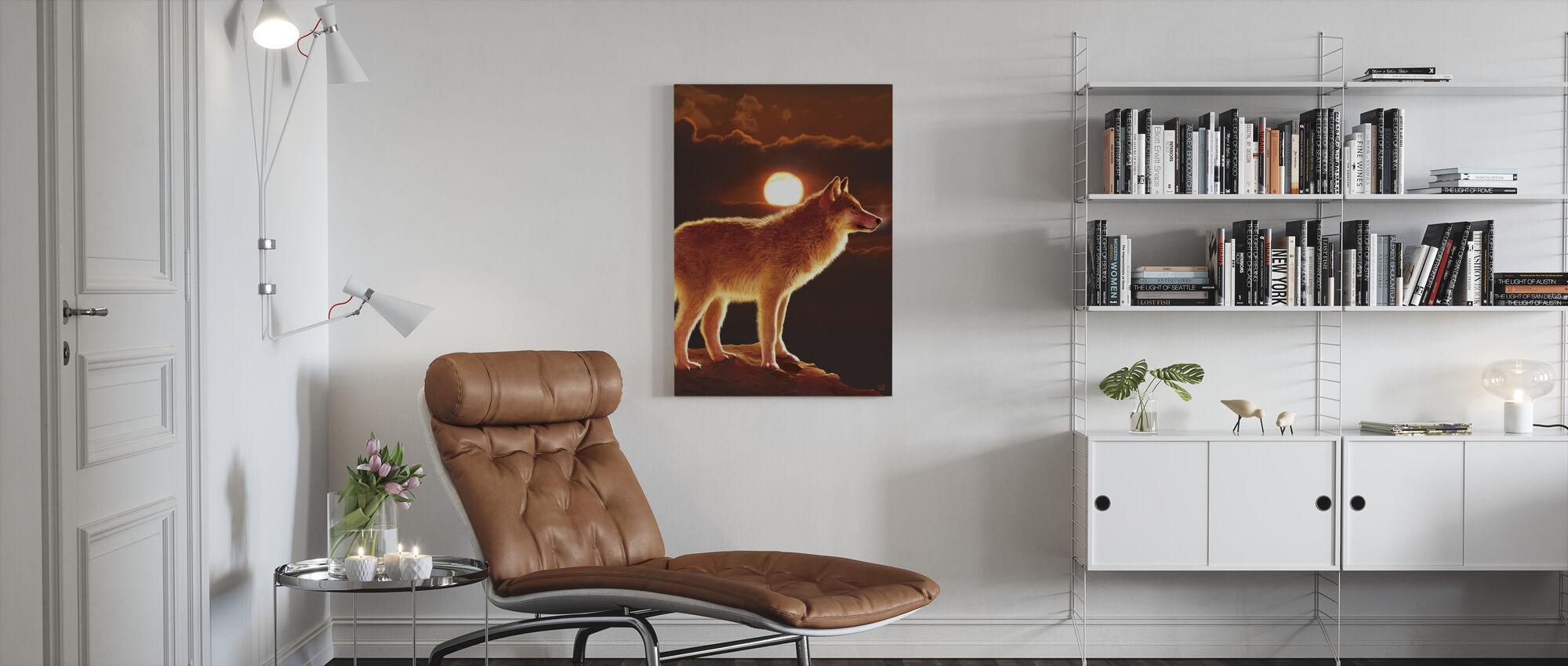 Sunset Wolf - Canvas print - Living Room