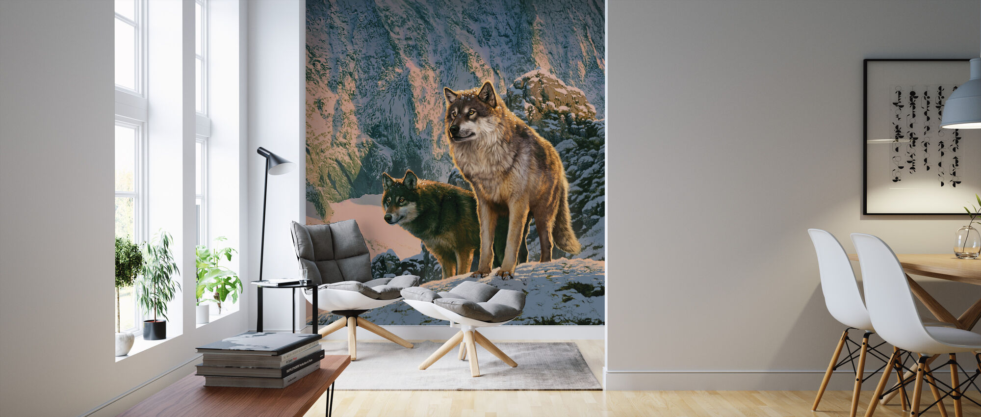 Wolf pari Sunset - Tapetti - Olohuone