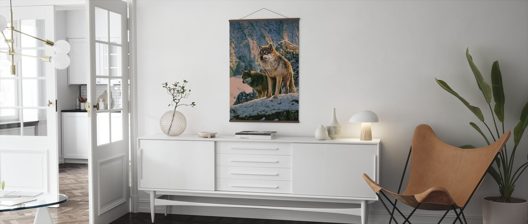 Wolf Couple in Sunset - Poster - Living Room