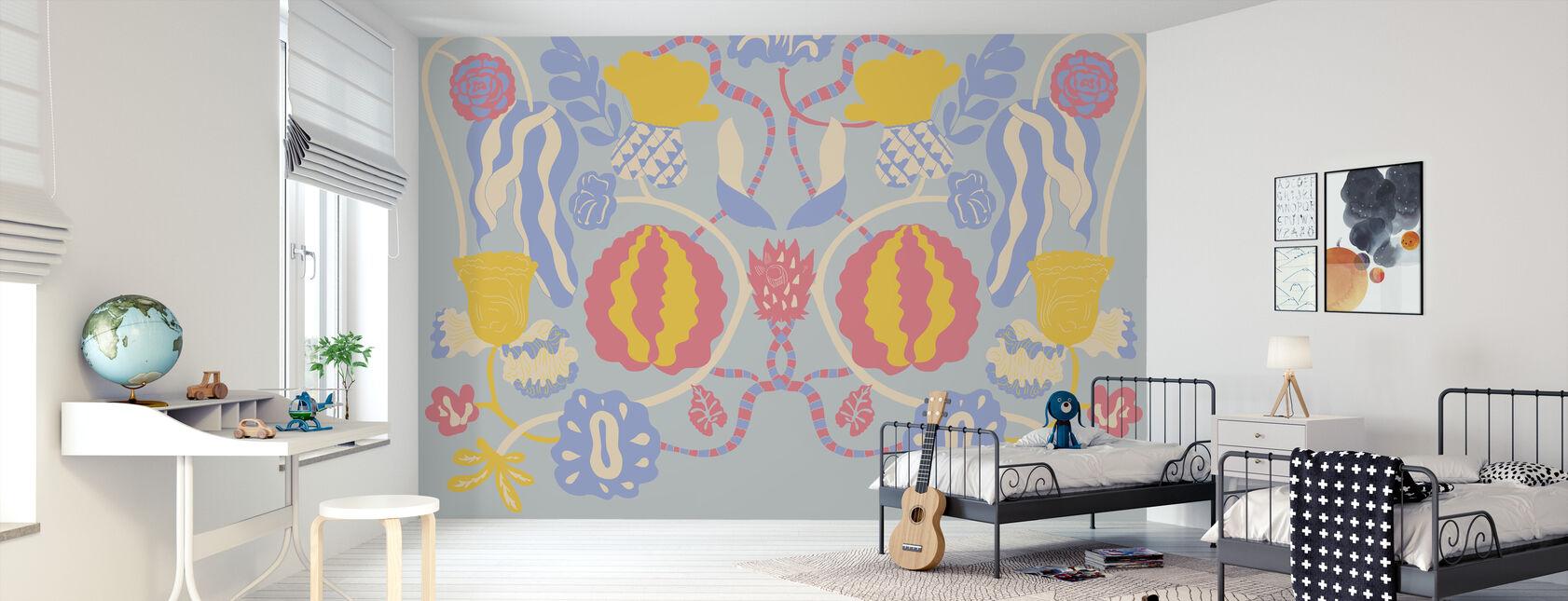 w Bloom Blue - Tapeta - Pokój dziecięcy