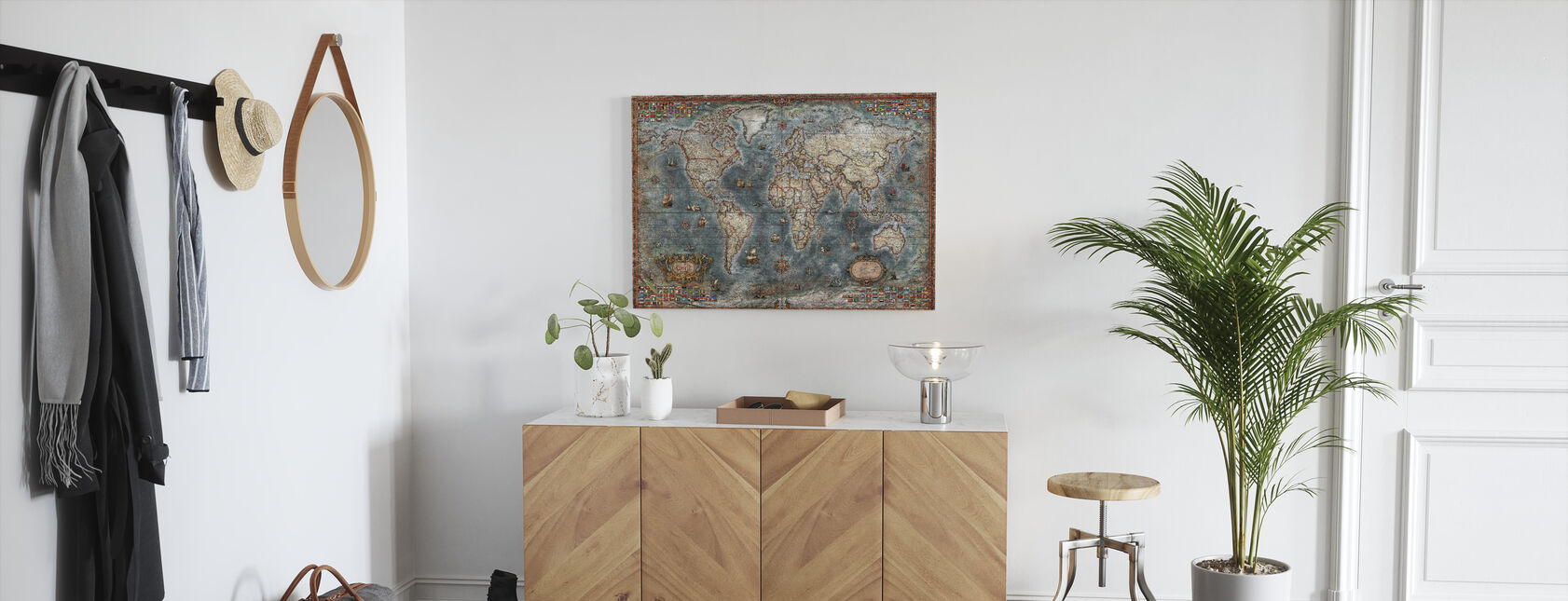 Gammel stil verdenskort - Billede på lærred - Entré