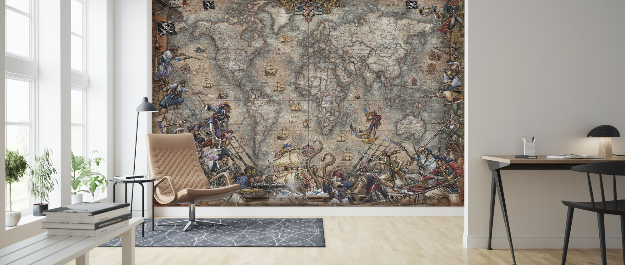 Pirates Map - Wallpaper - Living Room