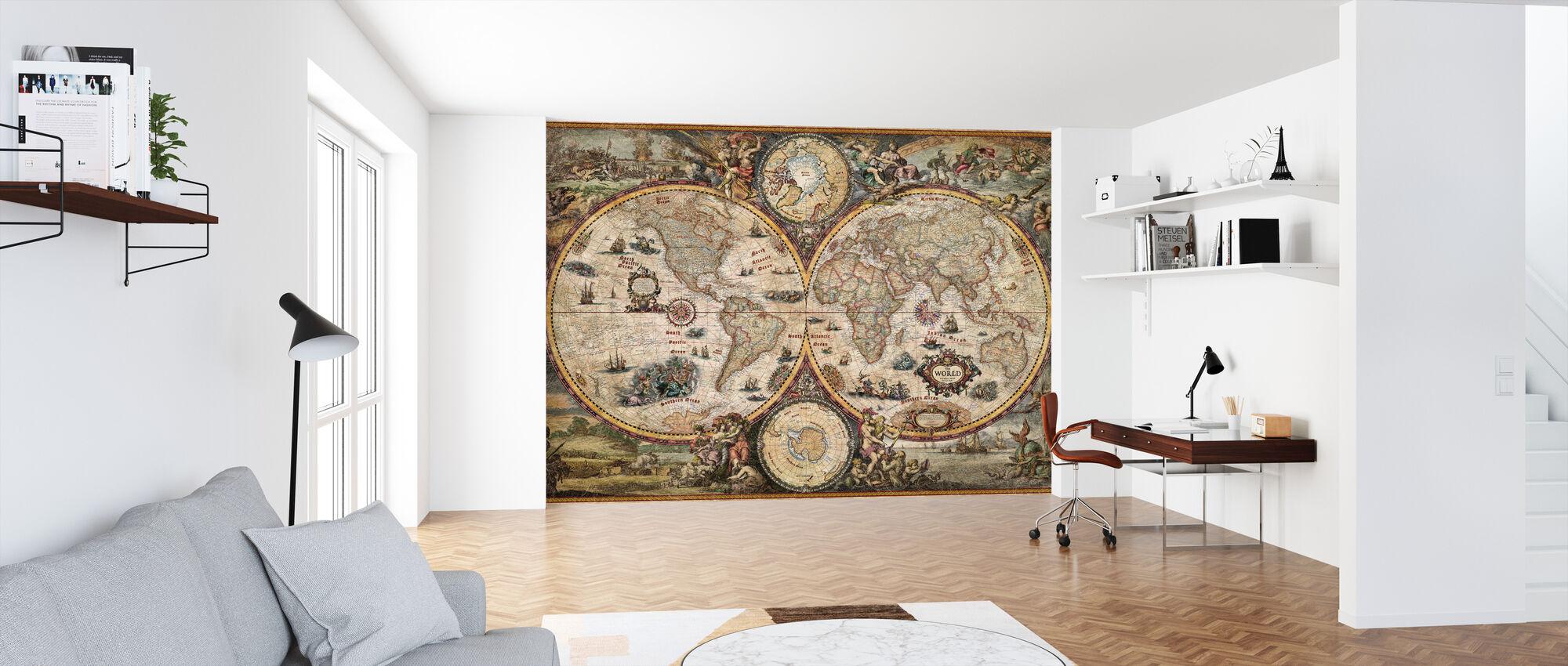 Vintage World Map - Wallpaper - Office