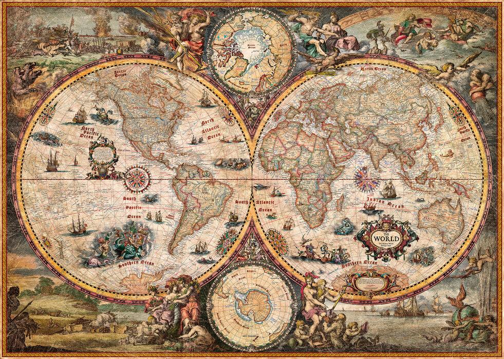 Vintage World Map Julisteet Kaikkiin Huoneisiin Photowall