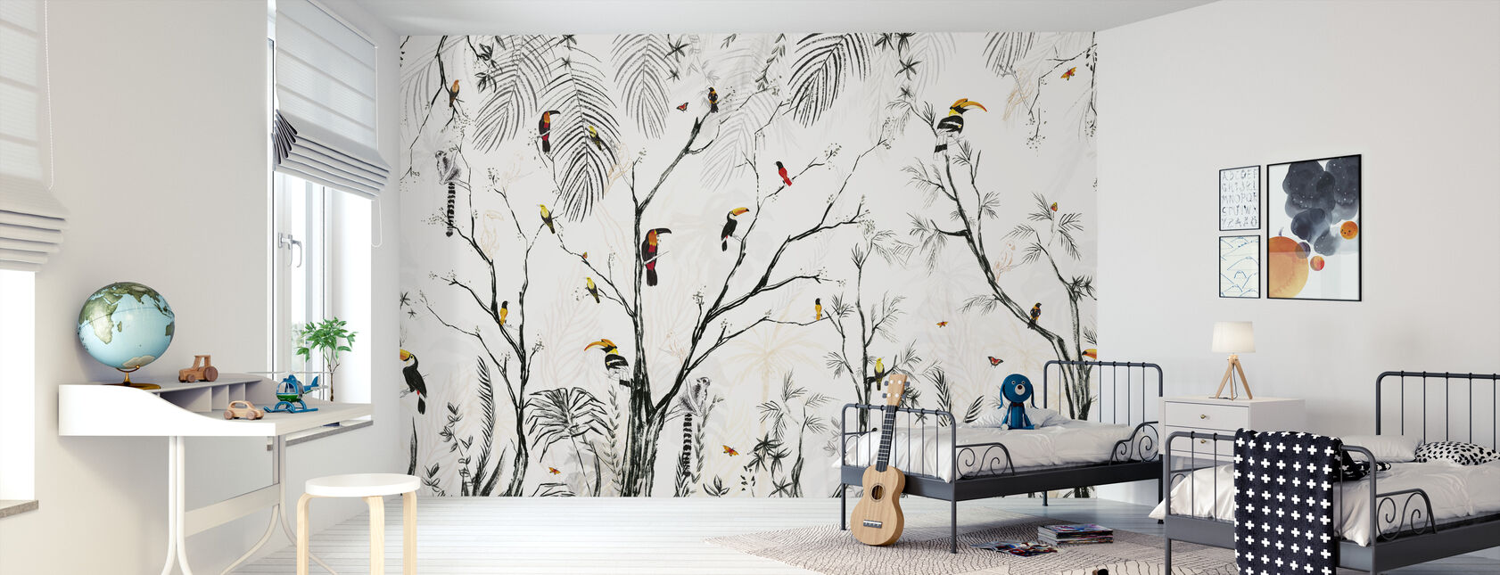 Tropical Charcoal - Wallpaper - Kids Room