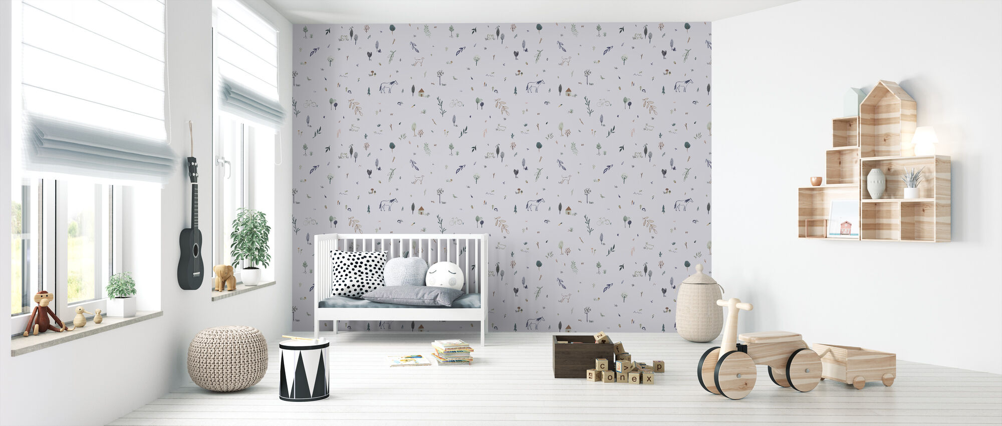 Whimsical Blue - Wallpaper - Nursery