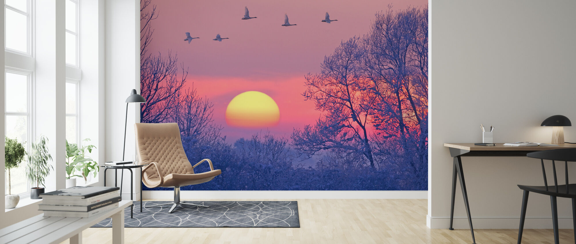 Whooper Swans at Dusk - Wallpaper - Living Room