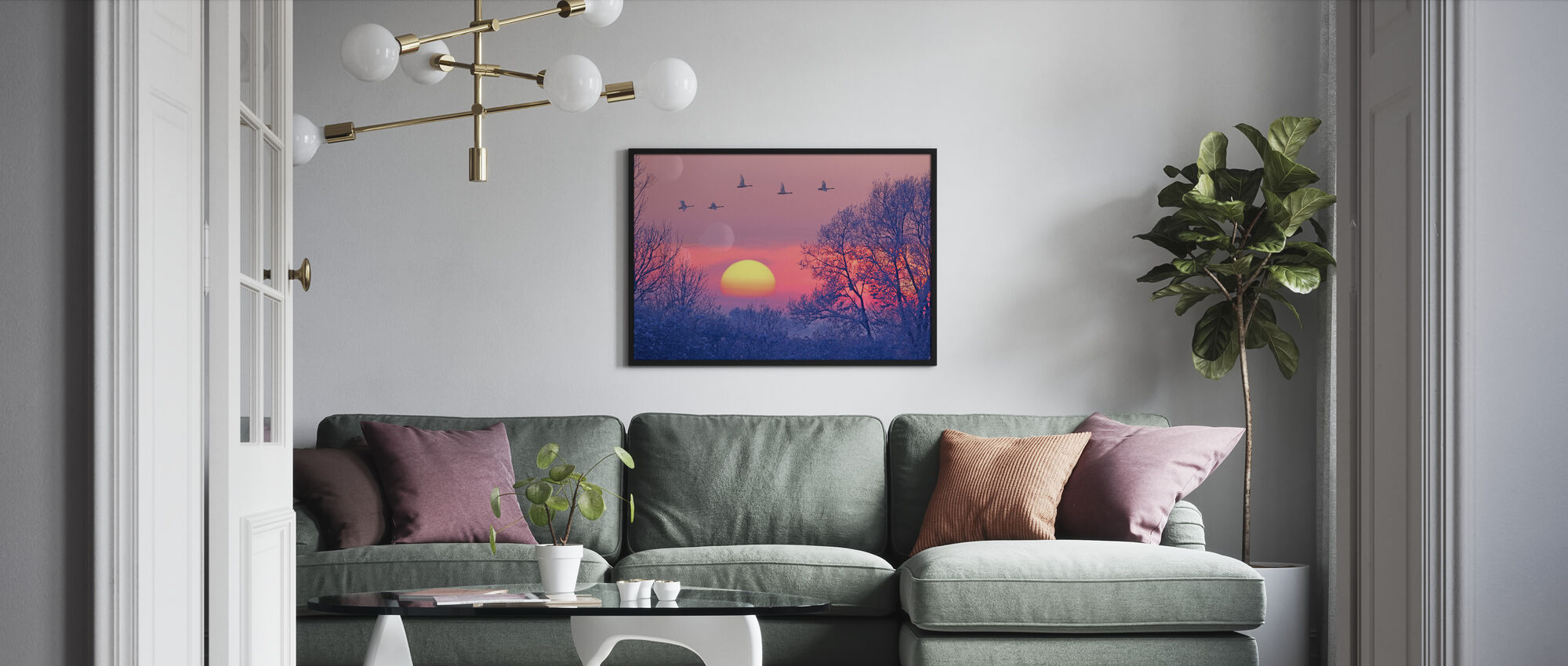 Whooper Swans på Skymning - Inramad tavla - Vardagsrum
