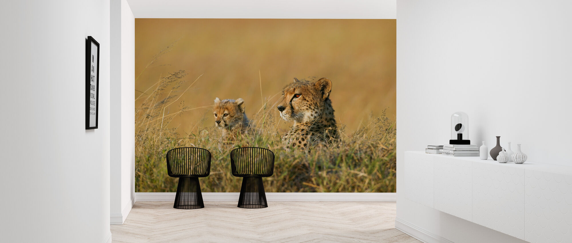 Mother and Cub Cheetah - Wallpaper - Hallway